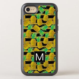 Coque OtterBox Symmetry iPhone 8/7 Ananas d'or sur le monogramme des rayures  