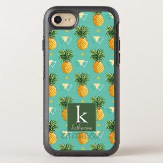 Coque OtterBox Symmetry iPhone 8/7 Ananas lumineux sur le monogramme géométrique du