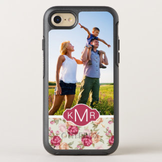 Coque OtterBox Symmetry iPhone 8/7 Beau motif de photo et de pivoine de monogramme