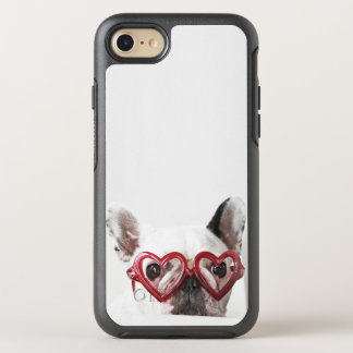 Coque OtterBox Symmetry iPhone 8/7 Bouledogue français en verres de coeur