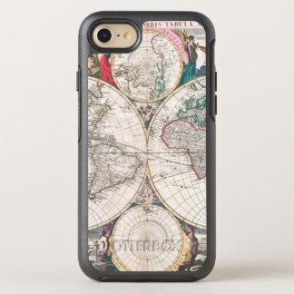 Coque OtterBox Symmetry iPhone 8/7 Carte antique du monde de Double-Hémisphère