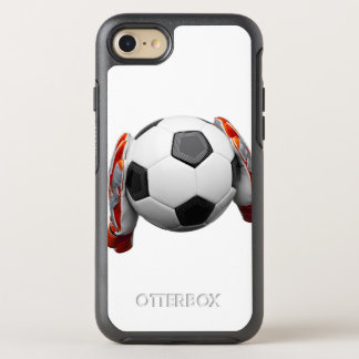 Coque OtterBox Symmetry iPhone 8/7 Deux gants de gardiens de but tenant un football