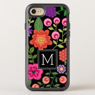 Coque OtterBox Symmetry iPhone 8/7 Fleurs colorées avec le monogramme noir d'arrière
