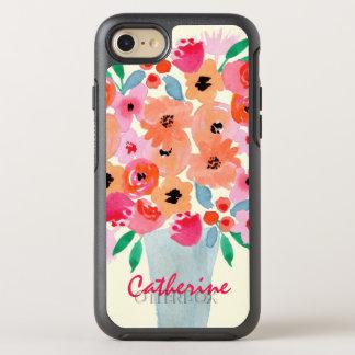 Coque OtterBox Symmetry iPhone 8/7 Fleurs dans un monogramme d'aquarelle de vase