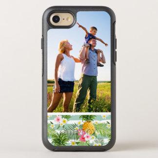 Coque OtterBox Symmetry iPhone 8/7 Fleurs de photo et rayures tropicales d'ananas