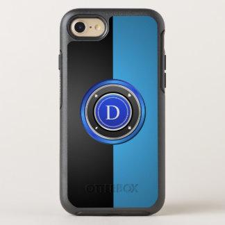 Coque OtterBox Symmetry iPhone 8/7 Jeton de poker noir et bleu avec votre monogramme