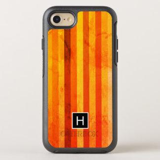 Coque OtterBox Symmetry iPhone 8/7 Le rouge orange patiné chaud barre le monogramme