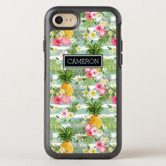 Coque OtterBox Symmetry iPhone 8/7 Les fleurs et les rayures de Teal d'ananas  