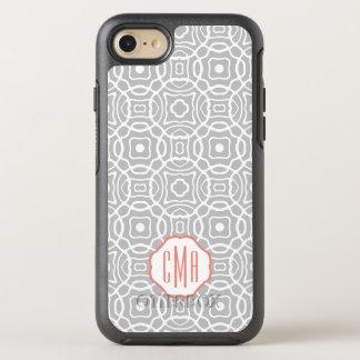 Coque OtterBox Symmetry iPhone 8/7 Monogramme de corail et gris de Quatrefoil