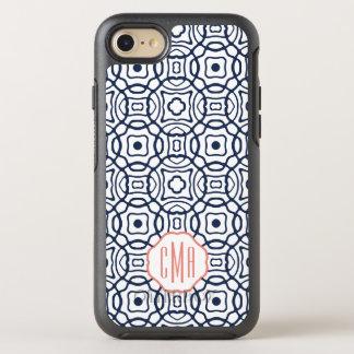 Coque OtterBox Symmetry iPhone 8/7 Monogramme de Quatrefoil de corail et de marine