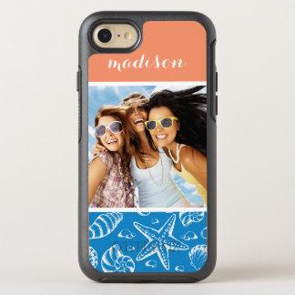 Coque OtterBox Symmetry iPhone 8/7 Motif bleu | de plage votre photo et nom
