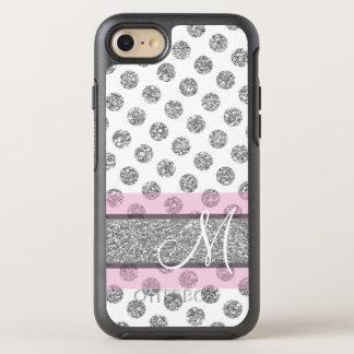 Coque OtterBox Symmetry iPhone 8/7 Motif de point argenté de polka de scintillement