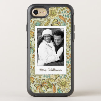 Coque OtterBox Symmetry iPhone 8/7 Motif floral de photo et de papillon de nom