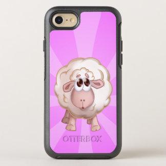 Coque OtterBox Symmetry iPhone 8/7 Moutons mignons au-dessus des rayures roses