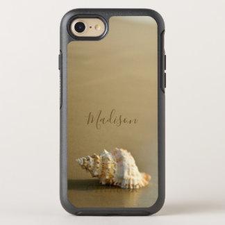 Coque OtterBox Symmetry iPhone 8/7 Or de coquillage d'amants de plage personnalisé