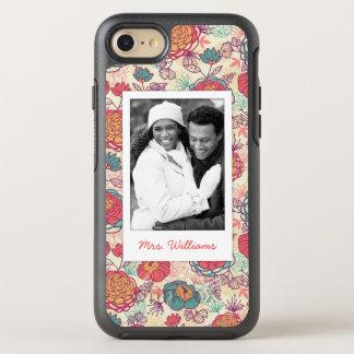 Coque OtterBox Symmetry iPhone 8/7 Photo et motif de pivoine et de feuille de nom