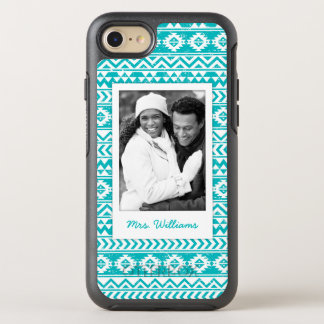 Coque OtterBox Symmetry iPhone 8/7 Photo et motif tribal aztèque turquoise nommé