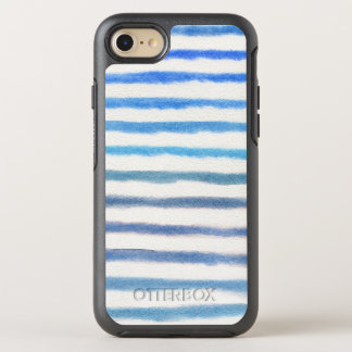 Coque OtterBox Symmetry iPhone 8/7 Rayures bleues d'aquarelle