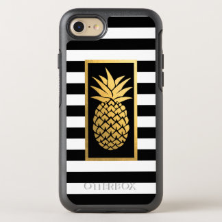 Coque OtterBox Symmetry iPhone 8/7 Rayures noires d'ananas d'or et blanches modernes