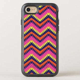 Coque OtterBox Symmetry iPhone 8/7 Rose orange de motif tribal au néon chaud de