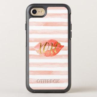 Coque OtterBox Symmetry iPhone 8/7 Rougissent le baiser rose d'aquarelle de l'or XOXO