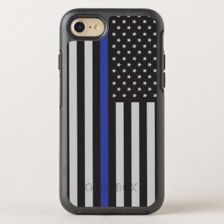 Coque OtterBox Symmetry iPhone 8/7 Soutenez le drapeau américain mince de Blue Line