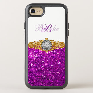 Coque OtterBox Symmetry iPhone 8/7 Style chic de monogramme de Bling de dames ou de