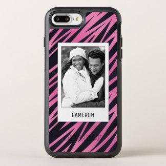 Coque OtterBox Symmetry iPhone 8 Plus/7 Plus Arrière - plan rose de rayure de photo et de zèbre