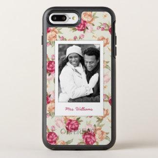 Coque OtterBox Symmetry iPhone 8 Plus/7 Plus Beau motif de photo et de pivoine de nom