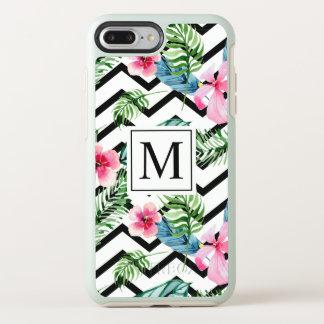 Coque OtterBox Symmetry iPhone 8 Plus/7 Plus Cas floral tropical de téléphone du monogramme |