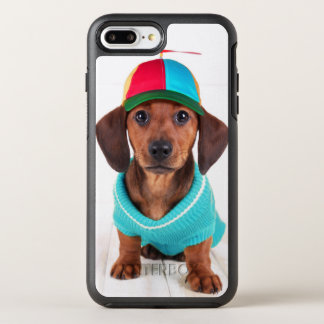 Coque OtterBox Symmetry iPhone 8 Plus/7 Plus Casquette de port de propulseur de chiot de teckel