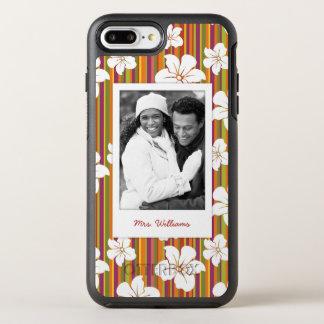 Coque OtterBox Symmetry iPhone 8 Plus/7 Plus Fleurs blanches de photo et de nom sur des rayures