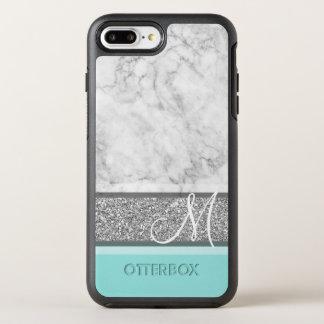 Coque OtterBox Symmetry iPhone 8 Plus/7 Plus Le monogramme argenté de parties scintillantes et