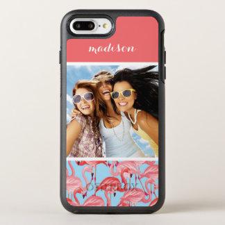 Coque OtterBox Symmetry iPhone 8 Plus/7 Plus Les flamants roses sur le bleu   ajoutent votre
