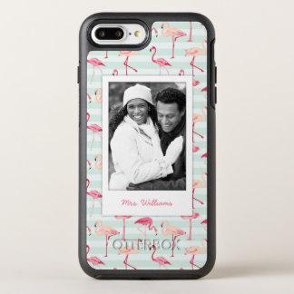 Coque OtterBox Symmetry iPhone 8 Plus/7 Plus Les flamants sur des rayures de menthe   ajoutent
