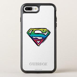 Coque OtterBox Symmetry iPhone 8 Plus/7 Plus Logo 2 d'arc-en-ciel du S-Bouclier | de Superman
