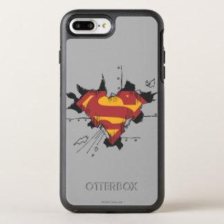 Coque OtterBox Symmetry iPhone 8 Plus/7 Plus Logo cassé en métal du S-Bouclier | de Superman