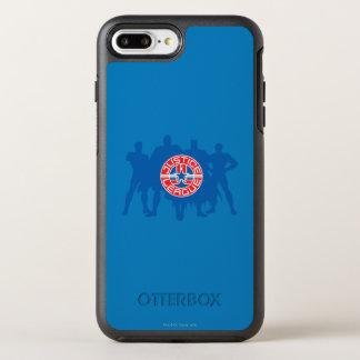 Coque OtterBox Symmetry iPhone 8 Plus/7 Plus Logo de ligue de justice et arrière - plan solide