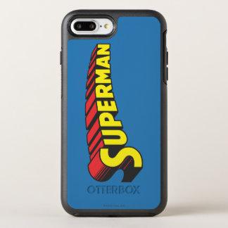 Coque OtterBox Symmetry iPhone 8 Plus/7 Plus Logo jaune de lettres de rouge de Superman |