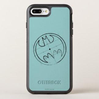 Coque OtterBox Symmetry iPhone 8 Plus/7 Plus Logo technique de croquis du symbole | de Batman