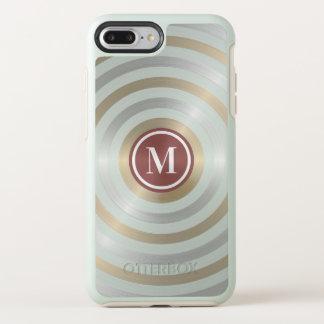 Coque OtterBox Symmetry iPhone 8 Plus/7 Plus Monogramme frais de motif de rayure d'or d'argent
