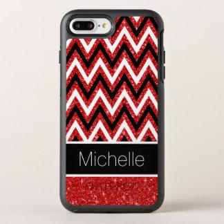 Coque OtterBox Symmetry iPhone 8 Plus/7 Plus Motif blanc de chevrons de noir rouge frais de