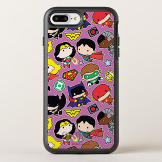 Coque OtterBox Symmetry iPhone 8 Plus/7 Plus Motif de ligue de justice de Chibi sur le pourpre