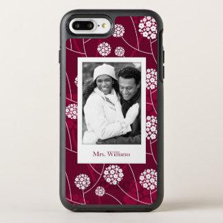 Coque OtterBox Symmetry iPhone 8 Plus/7 Plus Motif floral abstrait de photo et de nom