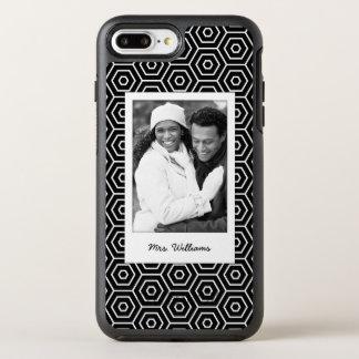Coque OtterBox Symmetry iPhone 8 Plus/7 Plus Motif géométrique hexagonal de photo et de nom