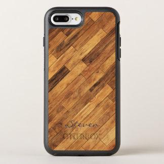 Coque OtterBox Symmetry iPhone 8 Plus/7 Plus Nom en bois de monogramme de grain de bois dur