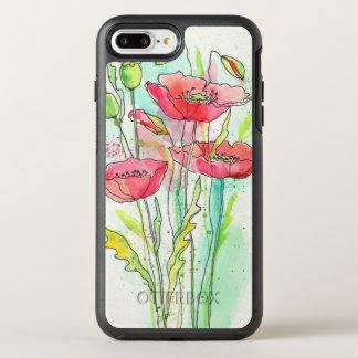 Coque OtterBox Symmetry iPhone 8 Plus/7 Plus Pavots peints d'aquarelle