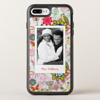 Coque OtterBox Symmetry iPhone 8 Plus/7 Plus Photo et motif floral 2 de nom rétro