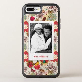 Coque OtterBox Symmetry iPhone 8 Plus/7 Plus Photo et motif floral 4 de nom rétro