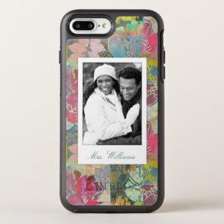 Coque OtterBox Symmetry iPhone 8 Plus/7 Plus Photo et motif grunge floral d'art de nom
